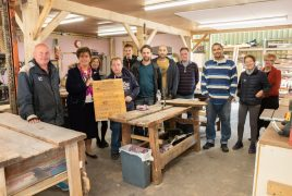 Countess Bathurst in our remodeled workshop along with a selection of staff, trustees and participants.
